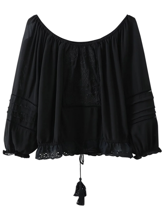 womens Off The Shoulder Embroidered Fringed Blouse - BLACK S