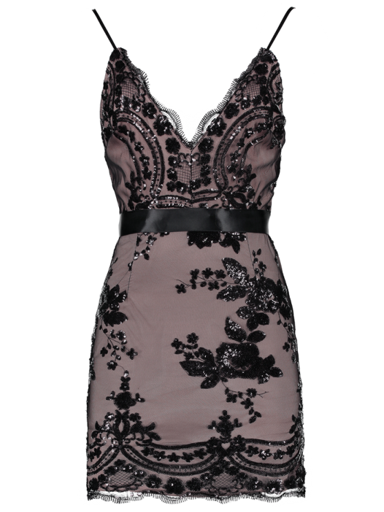 Spaghetti Strap V-Neck Sequined Floral Dress - BLACK M Mobile