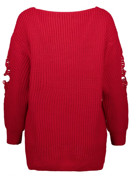 Loose Pullover Distressed  Sweater - RED M Mobile