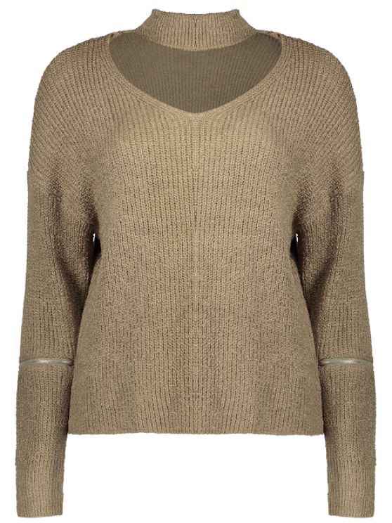 Choker Oversized Sweater - KHAKI ONE SIZE Mobile