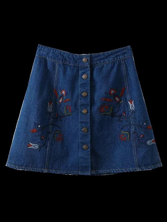 shops Denim Floral Embroidered A-Line Skirt - BLUE M