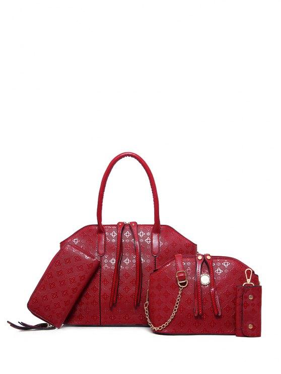 4PCS Embossed Handbag Set - WINE RED  Mobile