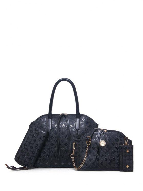 4PCS Embossed Handbag Set - BLACK  Mobile