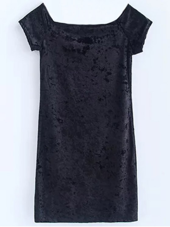 Casual Off The Shoulder Velvet Mini Dress - BLACK S Mobile