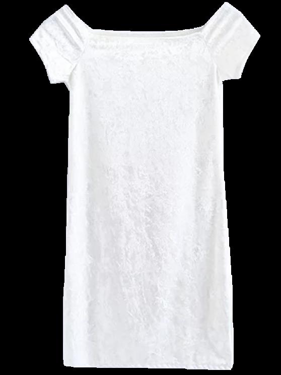 best Casual Off The Shoulder Velvet Mini Dress - WHITE M