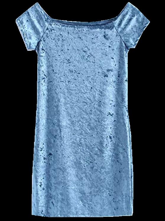 outfits Casual Off The Shoulder Velvet Mini Dress - LIGHT BLUE S