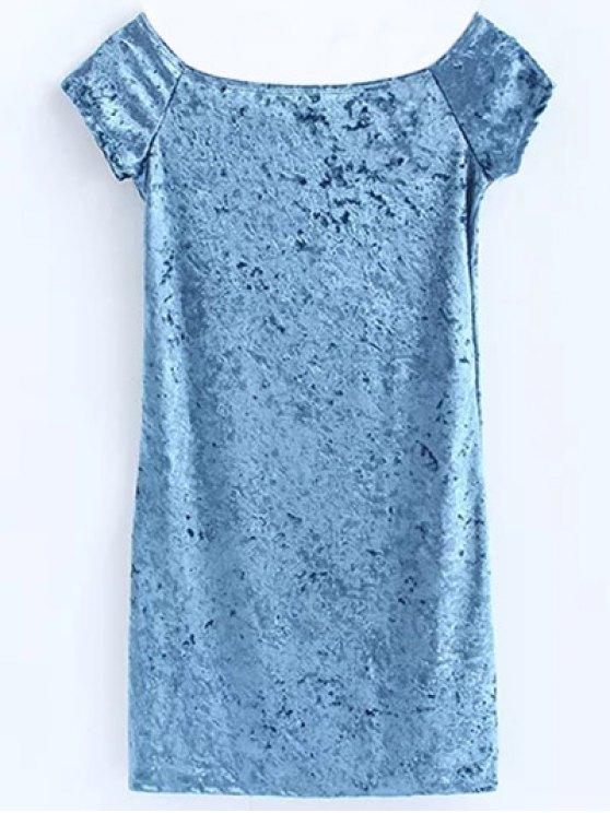 Casual Off The Shoulder Velvet Mini Dress - LIGHT BLUE S Mobile
