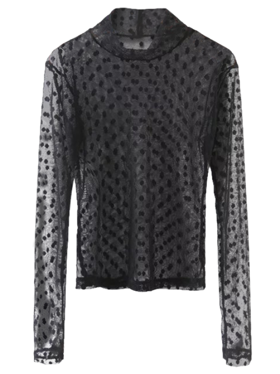 chic Sheer Mock Neck Dots Embellished Mesh Blouse - BLACK S