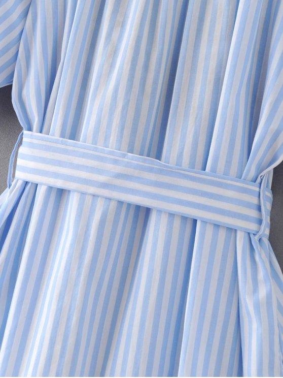 Striped Floral Embroidered Dress - LIGHT BLUE S Mobile