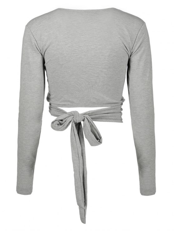 Long Sleeve Wrap Front Criss Cross Crop Top - GRAY XL Mobile
