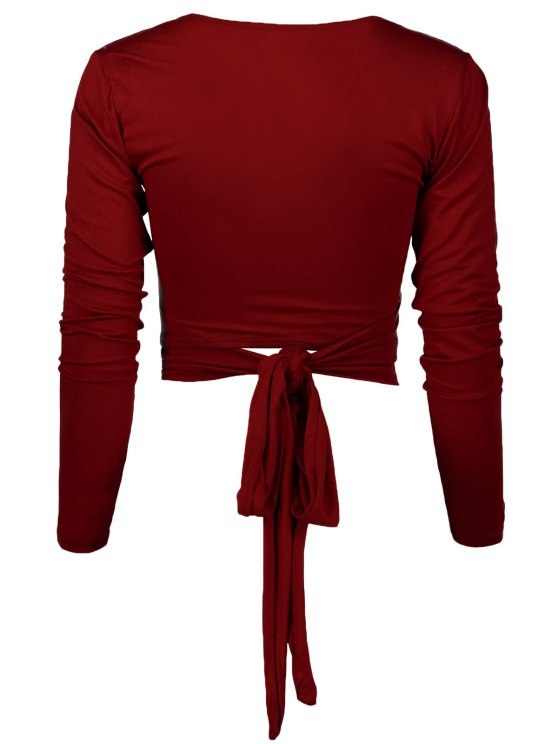 Long Sleeve Wrap Front Criss Cross Crop Top - BURGUNDY L Mobile