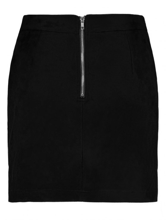 Mini Faux Suede Skirt - BLACK M Mobile