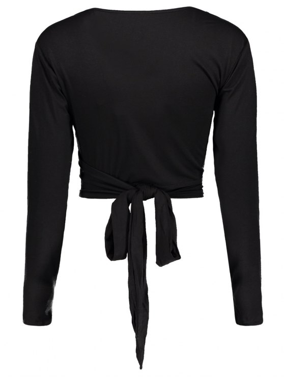 Long Sleeve Wrap Front Criss Cross Crop Top - BLACK S Mobile