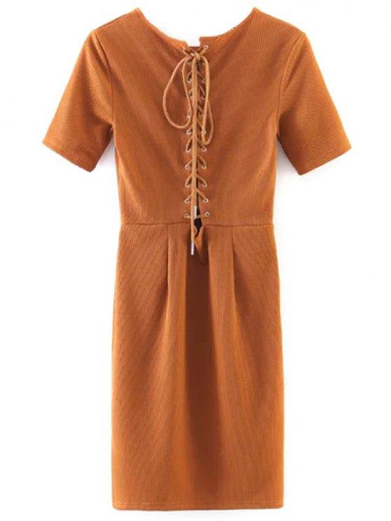chic Lace Up Back Mini Bodycon Dress - YELLOW ORANGE M