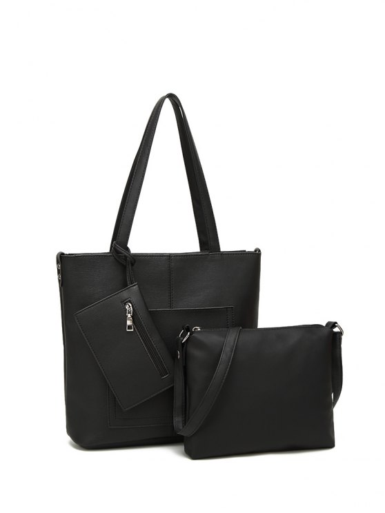 Faux Leather 3PCS Tote Bag Set - BLACK  Mobile