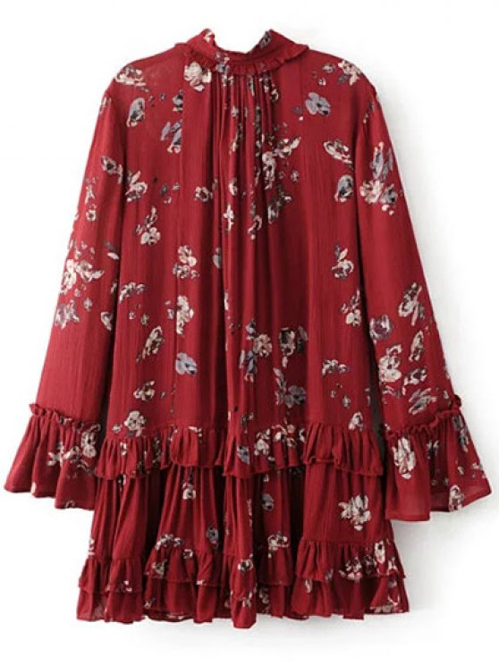 Floral Pleated Tunic Dress - BURGUNDY M Mobile