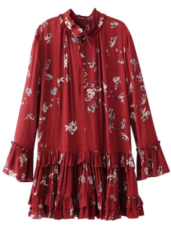 chic Floral Pleated Tunic Dress - BURGUNDY S