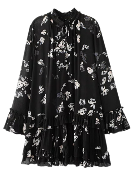 sale Floral Pleated Tunic Dress - BLACK S