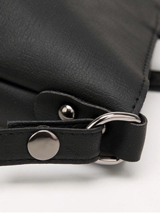 Faux Leather 3PCS Tote Bag Set - PALE PINKISH GREY  Mobile
