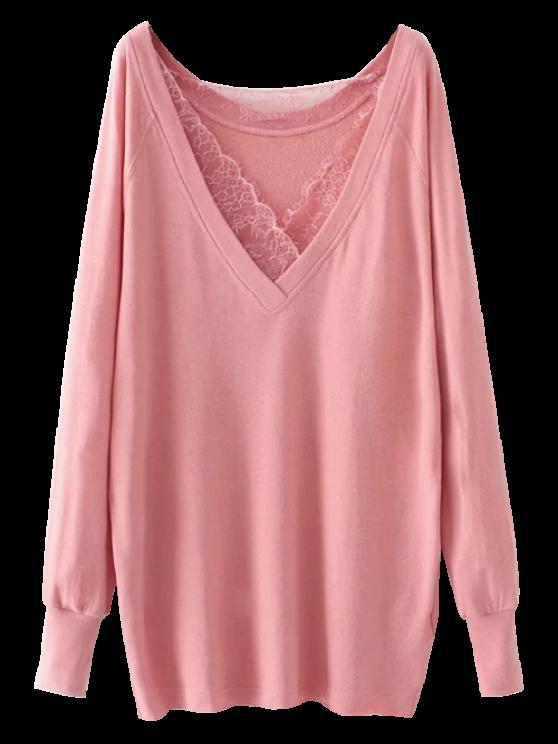 new Eyelash Lace Long Pullover Sweatshirt - PINK M