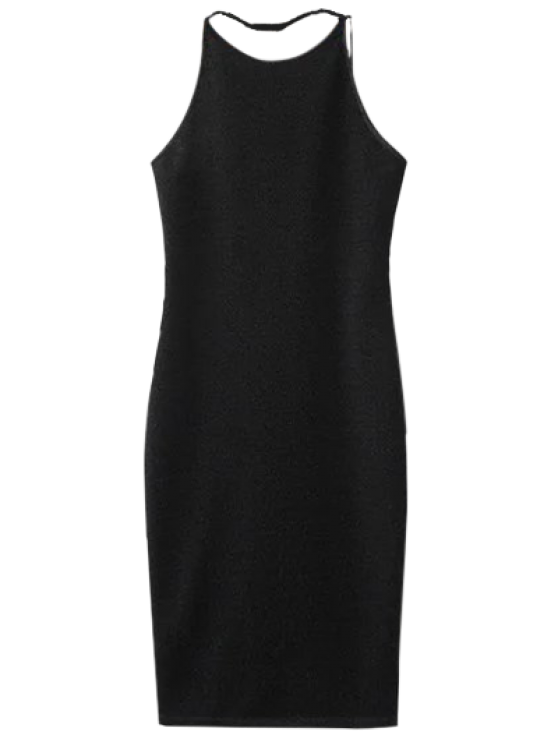outfits Low Back Glitter Bodycon Slip Dress - BLACK M