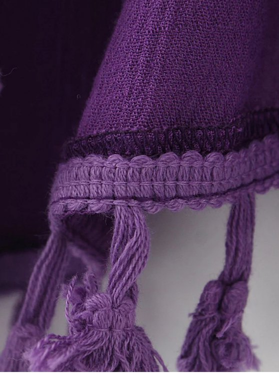 Crinkly Tasselled Shorts - PURPLE M Mobile