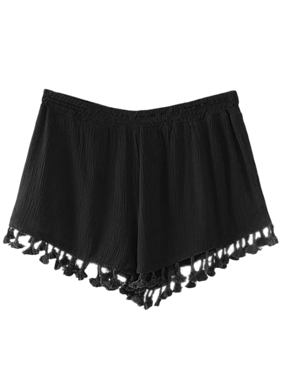 Crinkly Tasselled Shorts - BLACK M Mobile
