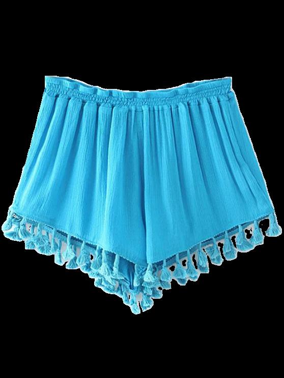 women Crinkly Tasselled Shorts - LAKE BLUE M