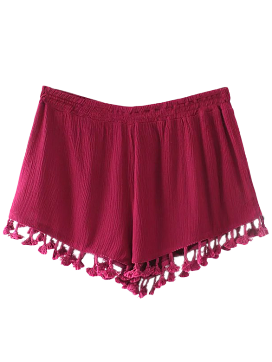 Crinkly Tasselled Shorts - RED L Mobile