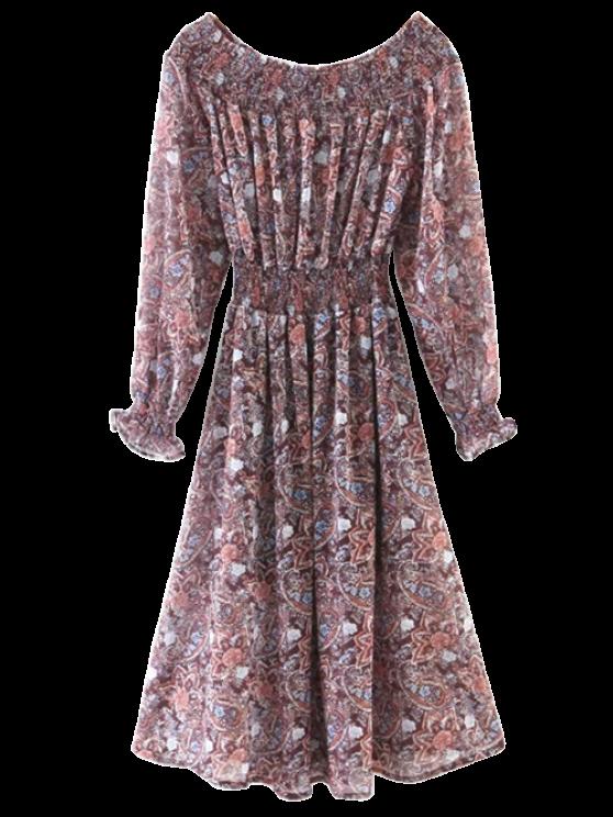 Paisley Hombro Vestido fruncido - Colormix S
