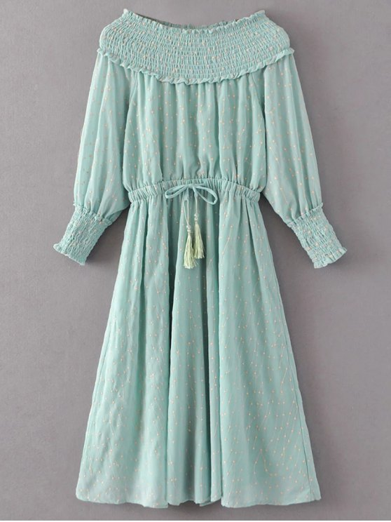 online Off Shoulder Smocked Drawstring Embroidered Dress - LIGHT GREEN L