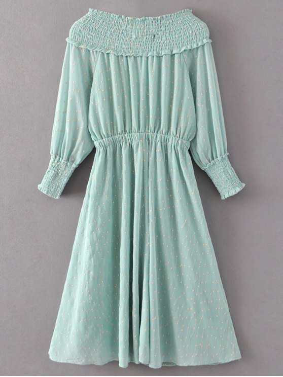 Off Shoulder Smocked Drawstring Embroidered Dress - LIGHT GREEN S Mobile