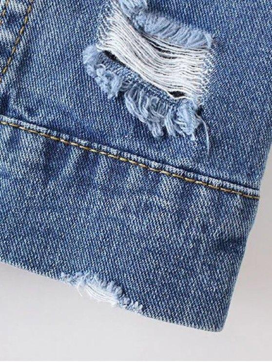 Bleach Wash Distressed Denim Coat - DENIM BLUE M Mobile