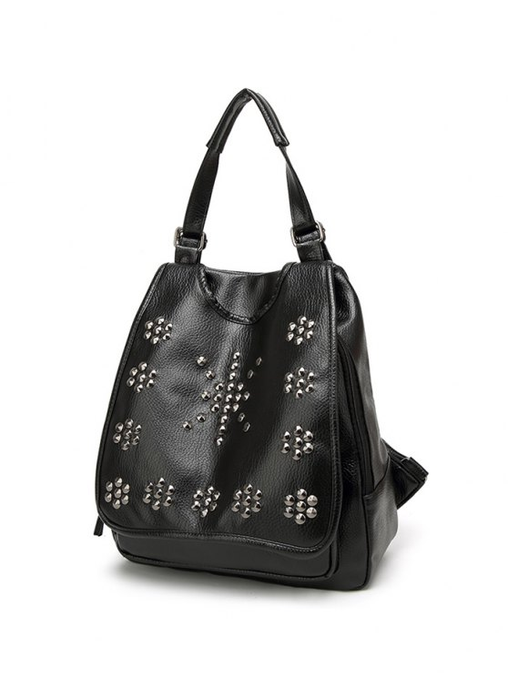Flapped Rivet Backpack - BLACK  Mobile