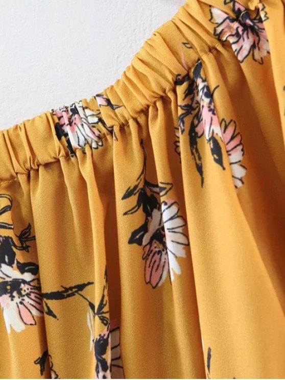 Floral Off Shoulder Shift Dress - YELLOW M Mobile