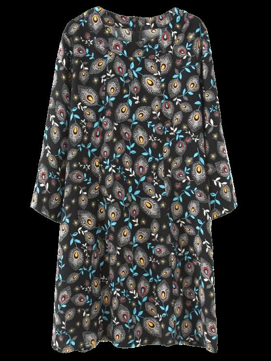 Túnica del pavo real Vestido estampado pluma - Negro 3XL