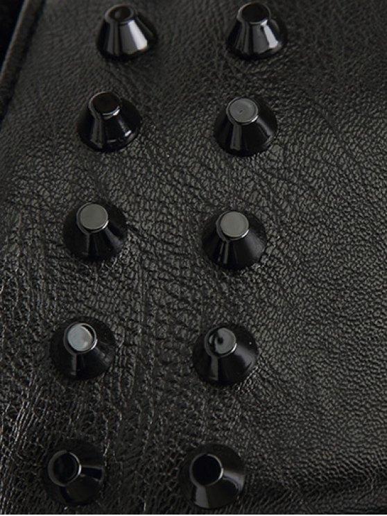 Faux Leather Fringed Rivet Handbag - BLACK  Mobile