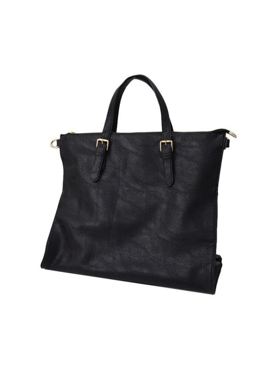 Buckle Straps Faux Leather Tote Bag - BLACK  Mobile