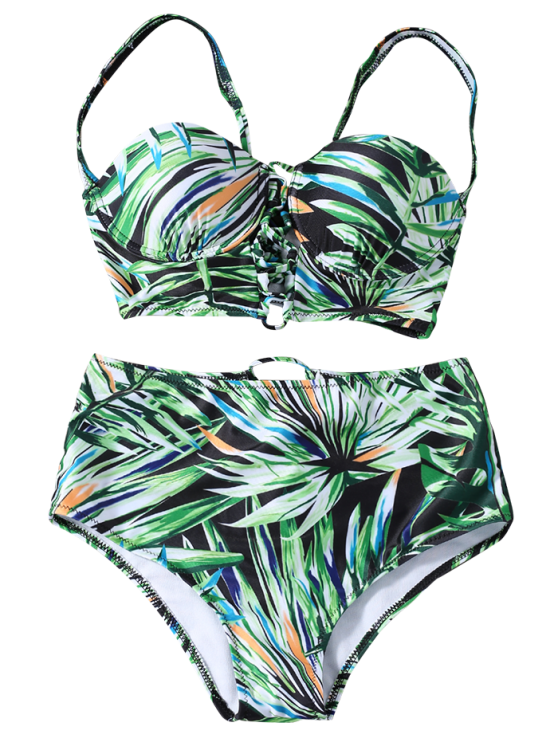 Lace Up Printed High Waist Bikini Set - GREEN L Mobile