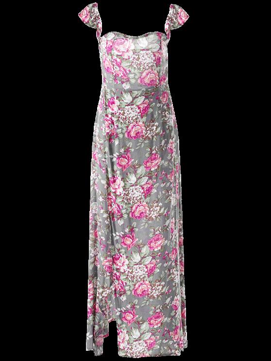 Maxi Off The Shoulder Dress - FLORAL M Mobile