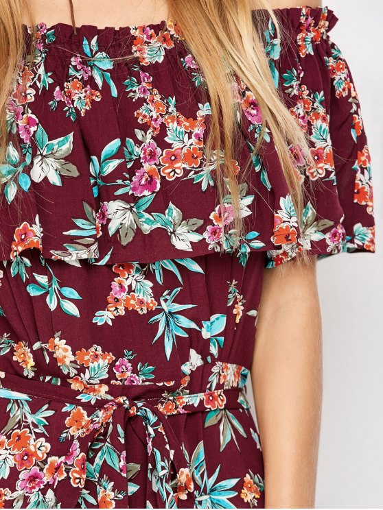 Ruffles Maxi Off The Shoulder Dress - FLORAL S Mobile