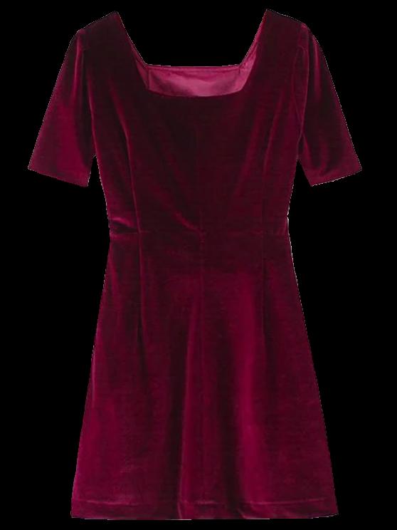 sale Vintage Velvet A-Line Dress - WINE RED S