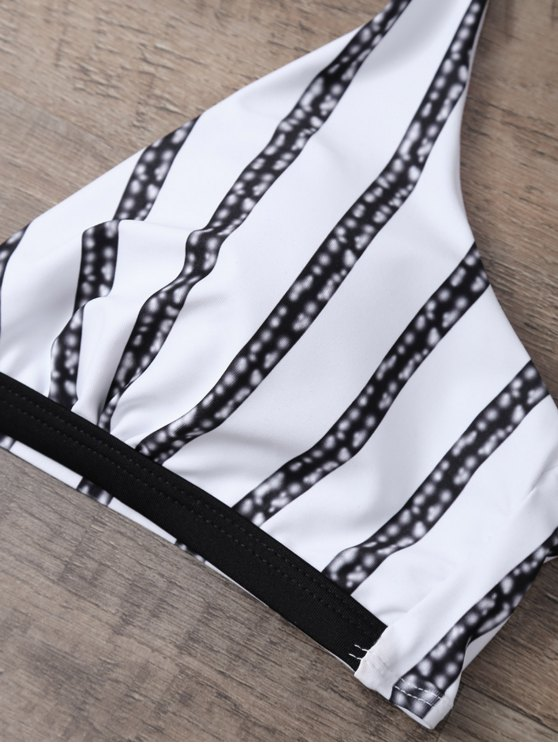 Halter Striped Tie Side Bikini - WHITE AND BLACK S Mobile