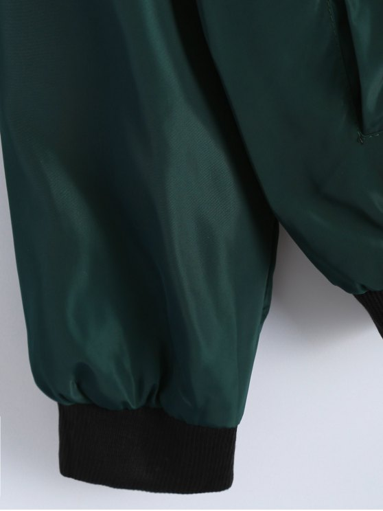 Zip Detail Bomber Jacket - GREEN S Mobile