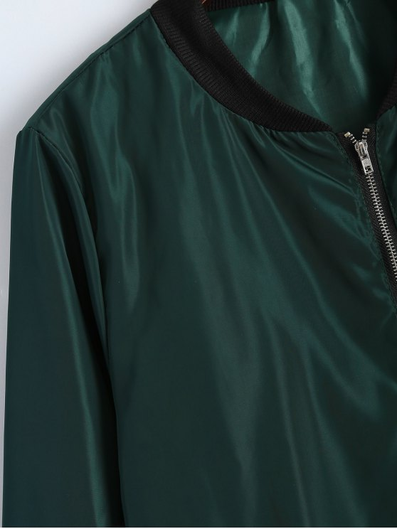 Zip Detail Bomber Jacket - GREEN XL Mobile
