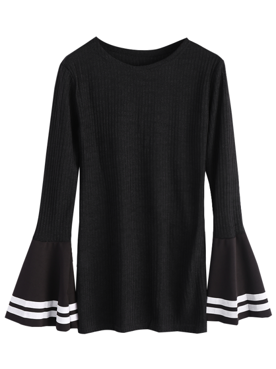 Contrasting Bell Sleeve Layering Top - BLACK S Mobile