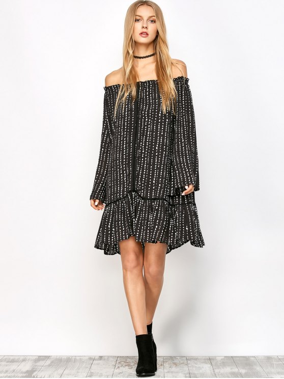 Printed Off Shoulder Tunic Dress - BLACK S Mobile