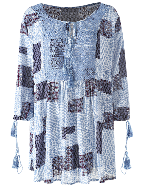 Tassel String Patchwork Print Tunic Top - MULTICOLOR L Mobile