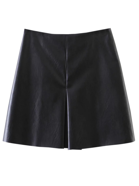 PU Leather Stretchy A-Line Skirt - BLACK M Mobile