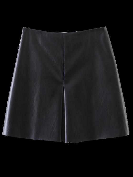 Elástico PU una línea de Falda - Negro M